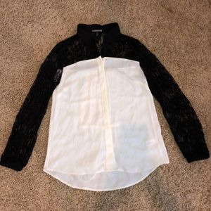 Express Black Lace Sleeve Button Down